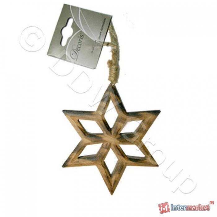 Декор Звезда дерев коричневая d14cm