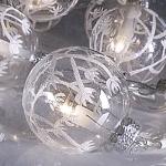 Гирлянда 2,7м теплобелая Шары стекло Теллуза прозрачные белый узор кабель прозрачный 1,5м 10 ламп indoor