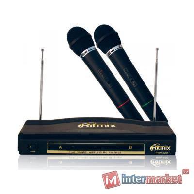 Microphone Ritmix RWM-220, 600 Ohm, 50-16000Hz, 60dB, wireless, в комплекте 2 штуки, black